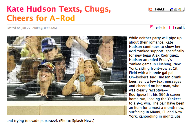 Lexi Vonderlieth and Kate Hudson watch Yankees vs Mets game